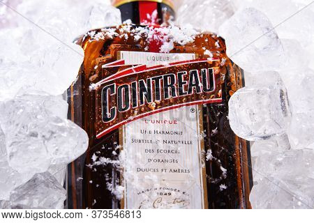 Poznan, Pol - May 28, 2020: Bottle Of Cointreau, A Brand Of French Triple Sec (an Orange-flavoured L