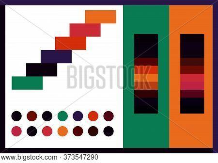 Contrast Colorful Color Palette 2020 Vector Illustration Set. Dark Bright Trendy Colour Scheme Swatc