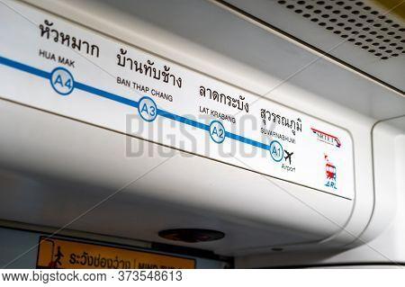 Bangkok, Thailand - 11 Apr 2020: Bangkok Airport Rail Link (arl) Information Over The Passenger Door