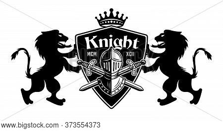 Lions Holding Shield With Knight Helmet And Two Crossed Swords Vector Illustration. Royal Crest In V