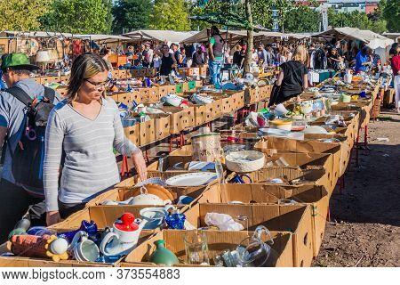 Berlin, Germany - August 6, 2017: People Visit A Flea Market In Mauerpark In Berlin.