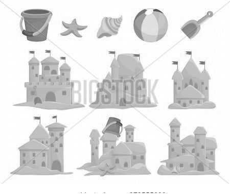 Sandcastles Set And Children Toys Bucket, Seashell, Scoop, Starfish, Ball. Sand Palace, Sculpture, T