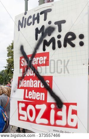 Berlin, Germany - August 23, 2017: Vandalized Election Poster Of Die Linke Party Before 2017 Federal