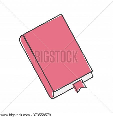 Vector Icon Closed Book With Bookmark. Notepad With A Bookmark Cartoon Style On White Isolated Backg