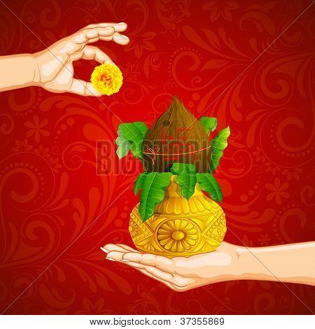 illustration of hand holding mangal kalash offering flower
