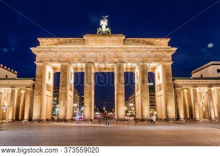 Berlin, Germany - September 6, 2017: Dusk At The Brandenburger Tor Brandenburg Gate In Berlin, Germa