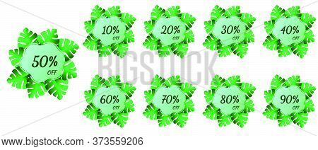 Summer Sale Bright Labels, Hot Season Discount Banner With Tropical Leaves. Sale Tags Set Vector Bad
