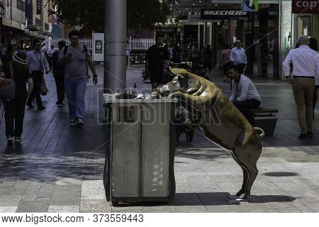 Adelaide, Australia - March 11th, 2020: A Unique Street Garbage Bin With A Metal Pig Statue In Adela