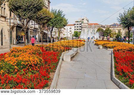 Braga, Portugal - October 16, 2017: View Of Liberdade Pedestran Street And Praca De La Republica Wit