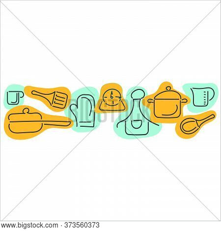 Cooking Border With Cutlery, Kitchen Utensils. Hand Drawn Cutlery. Place For Text. Vector Illustrati