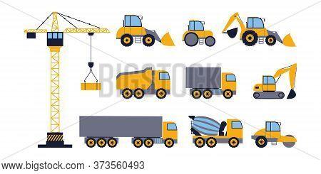 Illustration Of Wagon, Truck, сoncrete Mixer Truck, Backhoe, Tractor, Digger, Road Roller, Vibratory