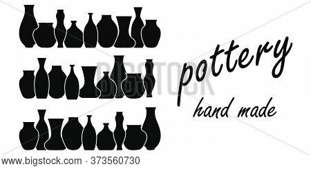 Pottery Flat Vector Border. Handmade Ceramic Vase And Pots . Pottery Hobby. Banner For Your Studio O
