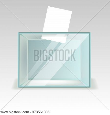 Glass Ballot Box, A Box With Transparent Walls And Opening. Realestic Vector Illustration
