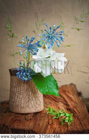 Bouquet Of Wild Jasmine Flowers. Rustic Still Life With Jasmine And Wildflowers. Natural Still Life.