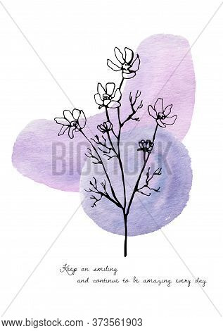 Abstract Wildflowers. High Quality Hand-drawn Watercolor And Line Art Postcards Of Wildflowers, Abst