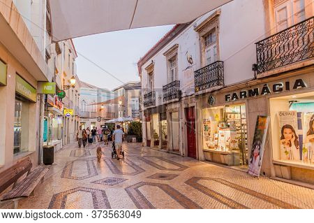 Faro, Portugal - October 5, 2017: Evening View Of A Street In The Center Of Faro, Portugal.