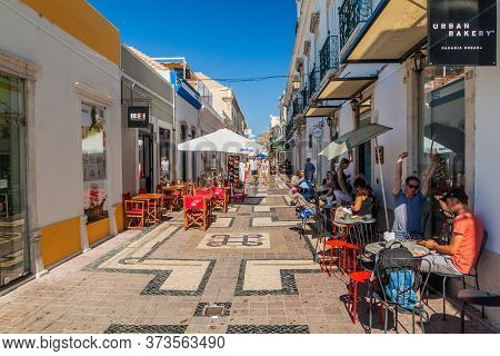 Faro, Portugal - October 6, 2017: View Of A Street In The Center Of Faro, Portugal.