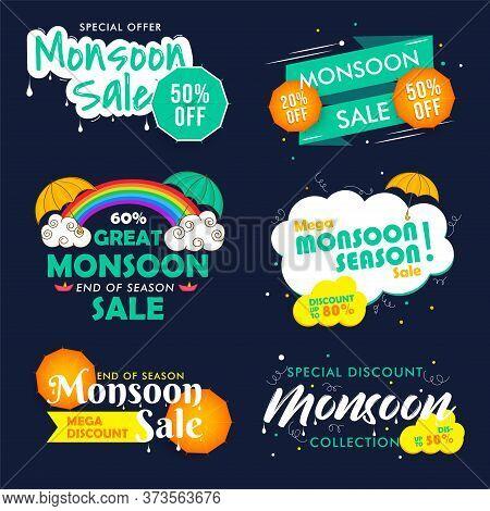 Happy Monsoon End Of Season Sale Emblems, Badges Set. Creative Typography On Monsoon Seasonal Sale.