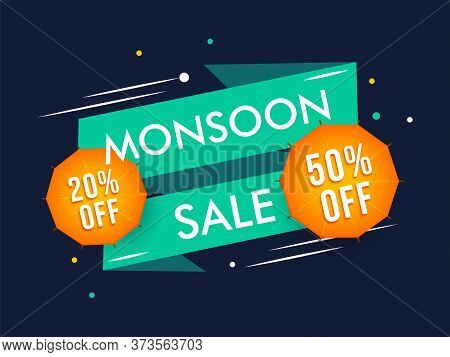 Creative Abstract Background On Happy Monsoon End Of Special Offer Sale Badges.