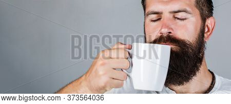Portrait Male. Closeup Tea. Good Morning, Man Holding A Cup Tea. Morning Concept. Handsome Bearded M