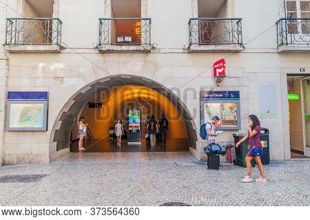 Lisbon, Portugal - October 8, 2017: Entrance Of The Baixa-chiado Metro Station In Lisbon, Portugal