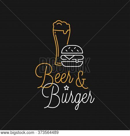 Beer And Burger Linear Logo. Beer Glass Lettering