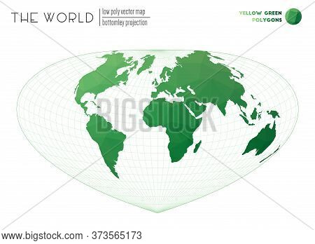 Polygonal Map Of The World. Bottomley Projection Of The World. Yellow Green Colored Polygons. Contem