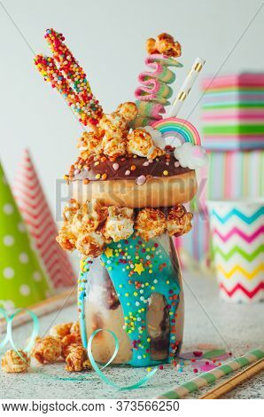 Chocolate Freak Shake On The Party Table