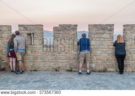 Obidos, Portugal - October 11, 2017: Tourists At The Fortification Walls Of Obidos Village.