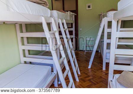 Coimbra, Portugal - October 12, 2017: Dorm Room In Coimbra Portagem Hostel In Coimbra, Portugal