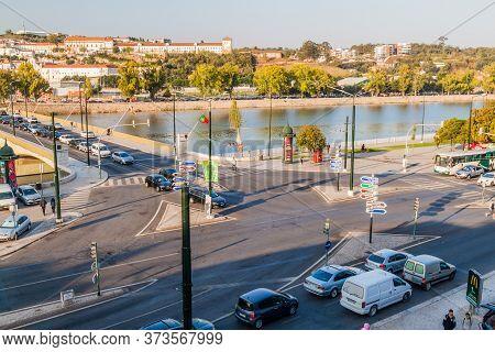 Coimbra, Portugal - October 13, 2017: Santa Clara Bridge Over Mondego River In Coimbra, Portugal