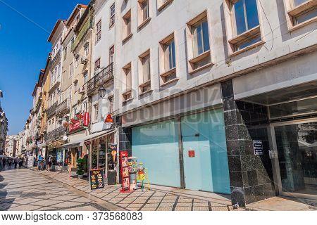 Coimbra, Portugal - October 13, 2017: Pedestrian Street In The Center Of Coimbra.