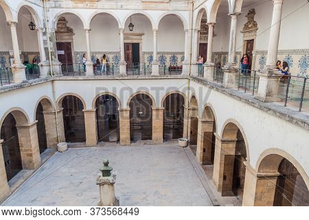 Coimbra, Portugal - October 13, 2017: Courtyard Of The University Of Coimbra, Portugal