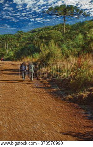People Hiking On Dirt Pathway Through Forest At Aparados Da Serra National Park Near Cambara Do Sul.