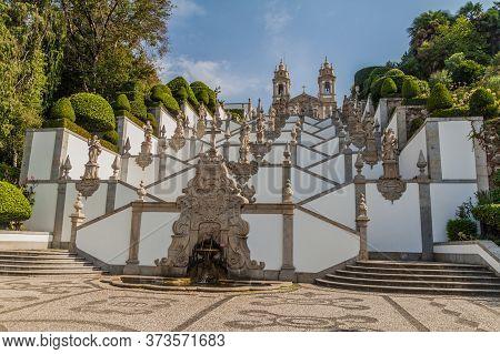 Baroque Stairway To Bom Jesus Do Monte Sanctuary Near Braga, Portugal