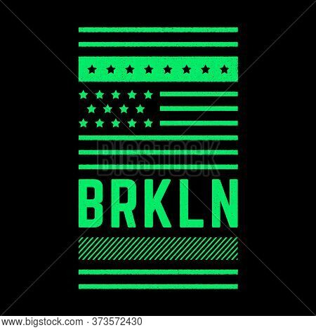 Vector Retro Illustration On The Theme Of Brooklyn. Urban. Star. Freestyle. Stylized Vintage Grunge