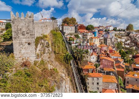 Fortification Walls And Funicular In Porto, Portugal