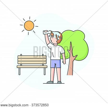 Concept Of Summer Hot Period. Male Character Walking In The Park, Weary From Heat. Man Is Drenching