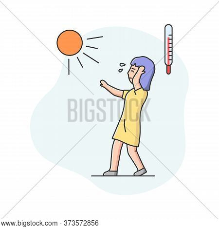 Summer Hot Period Concept. Woman Weary From Heat Is Walking Down The Street With Closed Eyes, Holdin