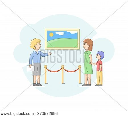 Modern Art Concept. Mother With Son Visit Art Gallery, Admire Of Exhibition. Woman And Boy Examine C