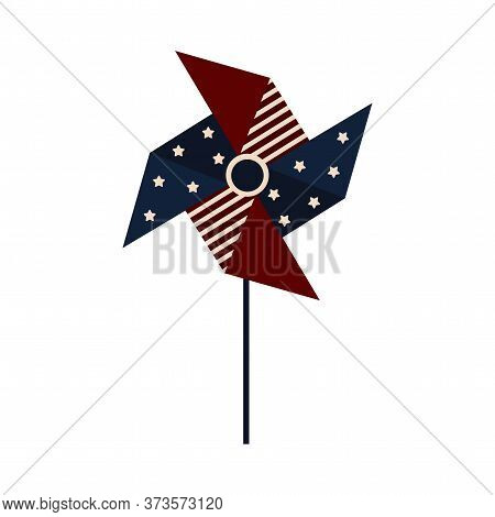 Paper Windmill Shaped Flag Of United States. 4th Of July - Vector