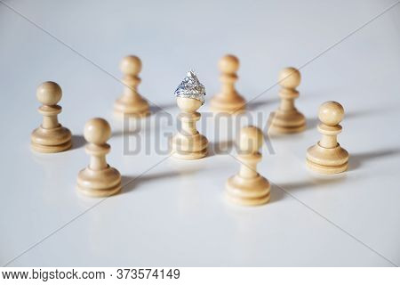 Conspiracy Theory And Manipulation Concept In Coronavirus Time, Group Of Pawn Chess Pieces Are Surro