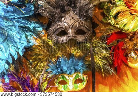 Colorful Green Black Masks Blue Feathers New Orleans Louisiana.  Masks Worn At Mardi Gras.