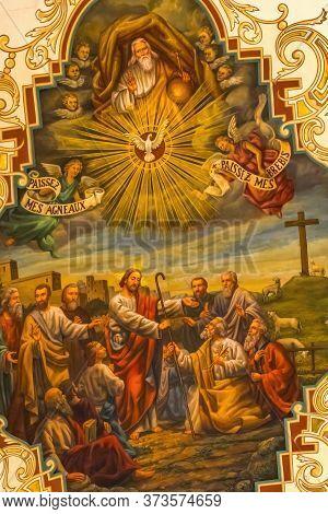 New Orleans, Louisiana - October 6, 2019 Jesus Resurrection Fresco Basilica Cathedral Oldest Cathedr