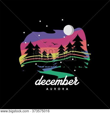 Valley Logo Modern Colorful Illustration Of Winter Vector With Pine Tree For T Shirt Design Inspirat