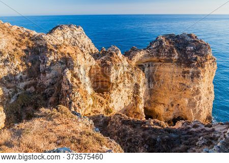Rocky Cliffs At Ponta Da Piedade Near Lagos, Portuga