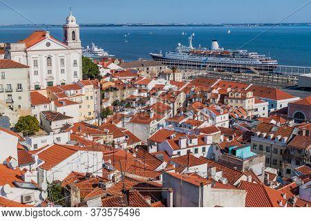 View Of Saint Stephen Church And A Cruise Ship In Lisbon From Miradouro De Santa Luzia Viewpoint, Po