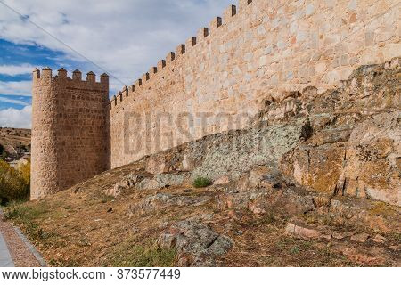 Fortification Walls Of The Old Town In Avila, Spain.