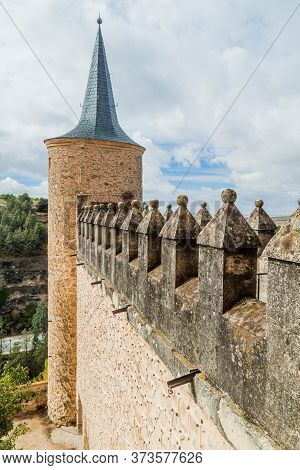 One Of Towers Of Alcazar Fortress In Segovia, Spain