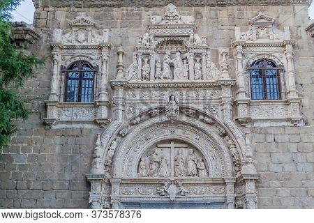 Decoration Of The Portal Of The Medieval Hospital Santa Cruz In Toledo, Spain
